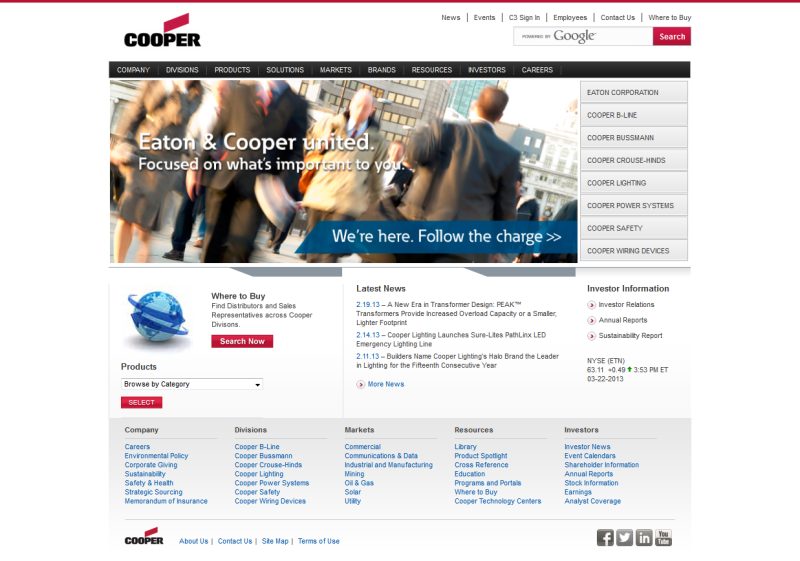 Cooper Industries - WCMS Migration / Implementation