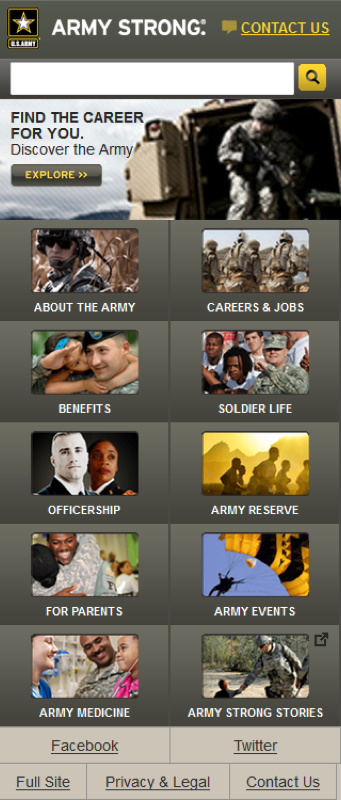 US Army - Mobile Website Implementation
