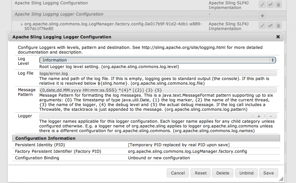 The Sling Logger Service Configuration Factory