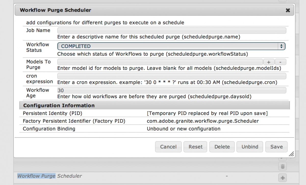 Workflow Purge Scheduler