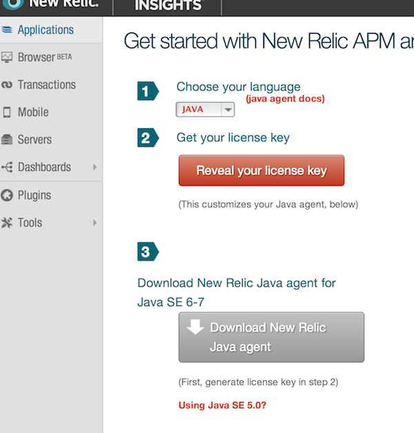 Setting Up the AEM Application in New Relic