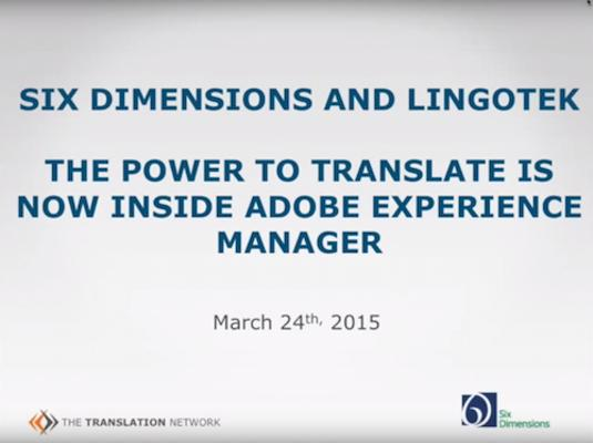AEM-Lingotek Translation Connector Webinar