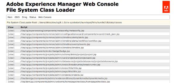 New in Apache Sling: FSClassLoader Console
