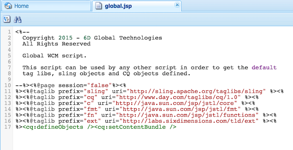 Setting page session to false in the global.jsp