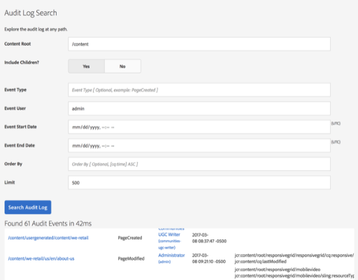 New from Perficient: ACS AEM Commons Audit Log Search