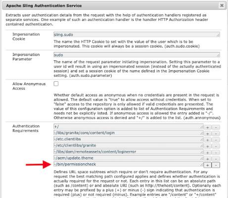 Sling Authentication Service Configuration