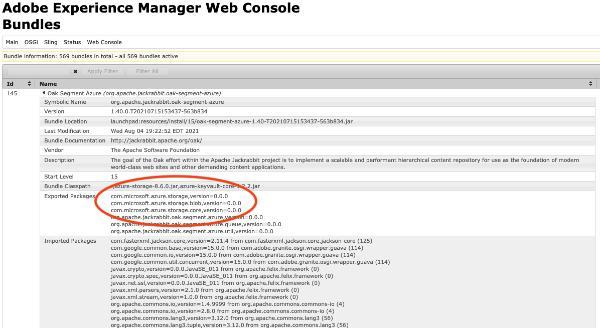 Oak Azure Segment Storage Bundle in the OSGi Console